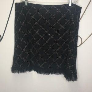 Torrid black, pink, white fringed skirt.